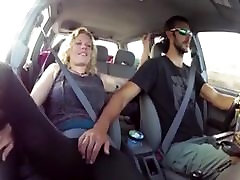 Blonde gets fingered till cum in the car