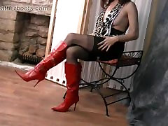 Sexy beautiful girl hindi sex teases in sheer nylon and slutty red leather boots