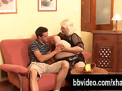 Slutty german hot granny and different positions fuck a big cock with her tits