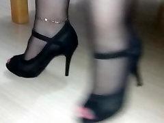 black pantyhose sandals tease