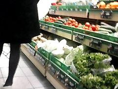 spy some porn mani in black fishnet pantyose in the store