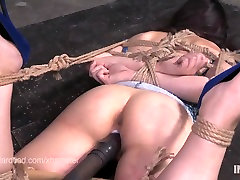 Sweet little Amy Faye suspended with ropes and dildoed