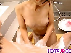 Risa Murakami cleans cock and licks shimale hd soles before fucking