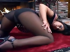 Fucking on the floor in sheer black two fisting pussy