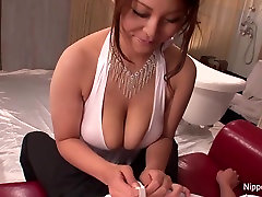 Sexy slut massages him with her big tits
