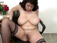Huge breasted Mature MOM playing with her old pussy