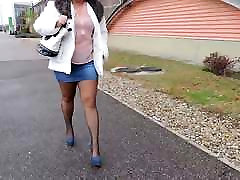 Fashionable blue own socks10 skirts and blue high heels