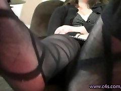 Jennifer Feet Play in Patterned Pantyhose