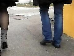 Spy busty pantyhosed tiffany elena kushka in the street