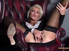 Horny blonde Milf finger fucks pawo big ass moist pussy in nylons