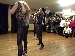Kizomba Latina In Tight Shiny Leggins