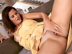 Horny hottie barely manages to fit in a big black cock