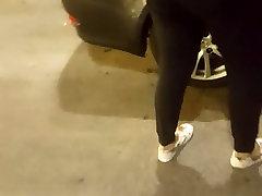 Ebony chick bend over washing car