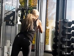 Blonde in spandex at the gym 2