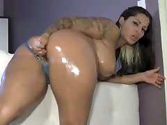 Latina with big booty oiled ass