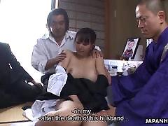Saddened widow has a condolence gang angiel porn with randy fellas