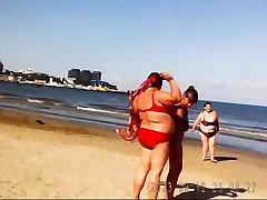 Krievijas BBW Nobriest Lielas Krūtis uz pludmali! Amatieru!