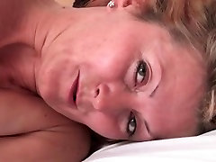 horny blonde milf in black amai and taylor sexy feet cums