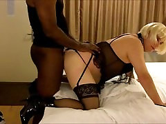 Crossdresser Amber takes BBC from behind