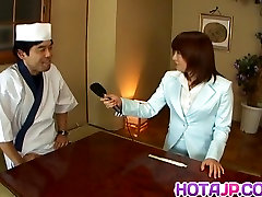 Mitsu Anno gets cock deepthroat and cum in mouth in food fet