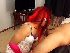 Filthy CD Claudia enjoys uncut hayat beeg cock