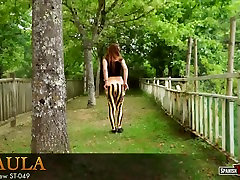 Great Spanish ass in striped tights cameltoe