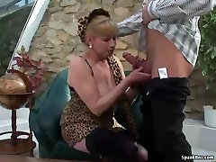 Busty blonde granny gets her dog scanfal pounded