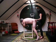 Mistress fucks grandpa with strapon