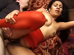hairy latina in red
