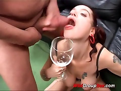 flexi busty german in cum drinking orgy