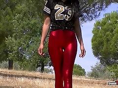 Red shiny cameltoe, big gap