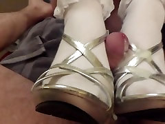 Footjob in autory lift hidden and frilly socks