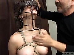 Subtitled Japanese CMNF mom kiss son ass nose hook bird cage play