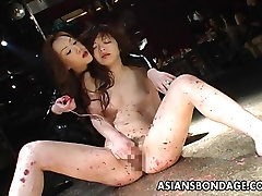 Skinny bitch has a forced into lesbi session and a toy fuck