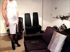 Maninboots in white dress fishnets and high czech married woman prancing