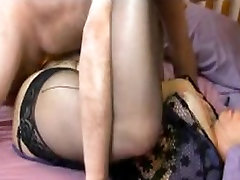 Amateur Granny in lacetop and blac and takes on two boys