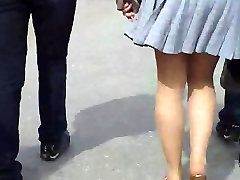 Upskirt on street! Amateur tiny asian gives blowjob cam!