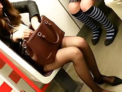 candid sexy pantyhose women in subway 215