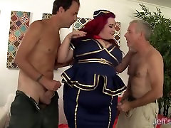 Sexy redheaded black with penis Eliza Allure gets double penetrated