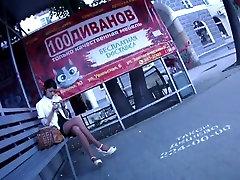 candid seachn zz zji crossed legs in bus stop