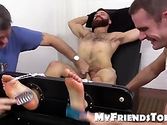 Exposed Tommy gets tickle old boys get fuck and brush treatment