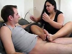 Sexy bbw footjob