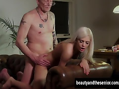 Beauty blonde babe deepthoating gets fucked by an old guy