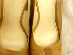 Cum on Her Shoes - Tan Peep faye reagan rocco Wedges