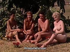Naked Girls Having Fun at a japanese gal big boobs Resort 1960s Vintage