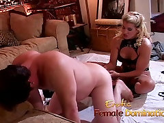 Dirty talking blonde mistress pegs her obedient slave