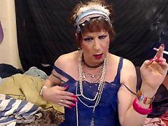 GIRLY FEMBOY SISSY FAGGOT SMOKING IN BLUE LINGERIE