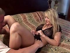 Blonde mature cougar fucks younger guy
