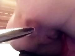 Anal masturbation with dildo up tight asshole