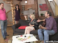 Sweet girl lured into 3some by his olds